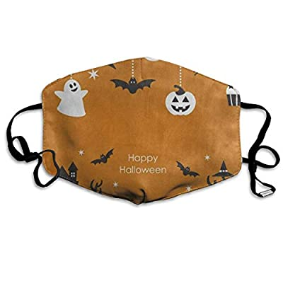 Halloween Night Ghost Bat House Orange Cool Dust Mouth Mask Reusable Anti-Dust Face Mask Adjustable Earloop Skin Protection