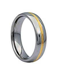 6MM Gold Plated Center Groove Ring Tungsten Carbide High Polished Band