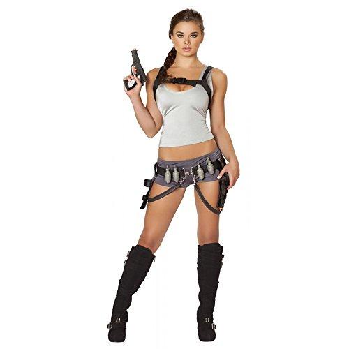 Sexy Lara Croft 5pc Women's Tomb Raider Treasure Hunter Costume - Raider Costume Lara Tomb