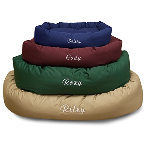 Majestic Pet Personalized Bagel Dog Bed - Machine Washable - Soft Comfortable Sleeping Mat - Durable Bedding Supportive Cushion Custom Embroidered - available replacement covers - Large Blue by Majestic Pet (Image #1)