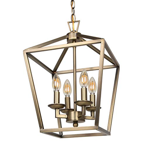 4-Light Chandelier Ceiling Light Fixture, Metal Lantern Pendant Lighting for Hallway, Entryway and Dinning Room, 18″ H x 12″ W, Soft Gold Finish, ETL Listed