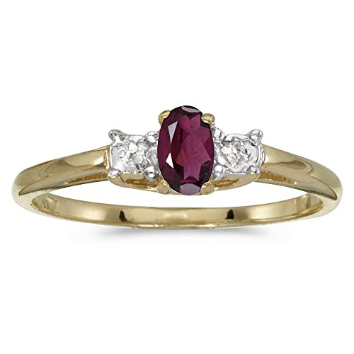 Jewels By Lux 14k Yellow Gold Genuine Red Birthstone Solitaire Oval Rhodolite Garnet And Diamond Wedding Engagement Ring - Size 9 (0.23 Cttw.)