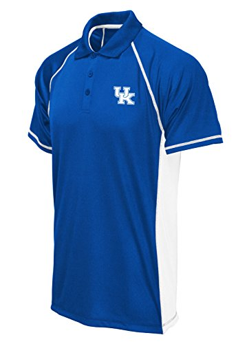 NCAA Kentucky Wildcats Poly Polo with Panels, Royal/White, Medium -