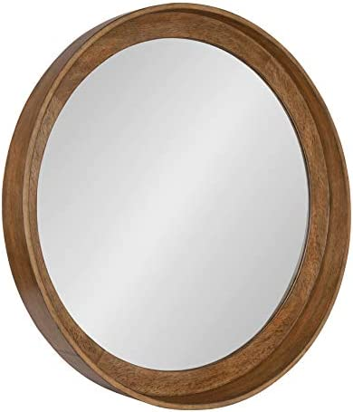 Kate and Laurel Basking Round Wood Wall Mirror, 30 , Warm Caramel Brown, Wooden Rustic Wall Decor