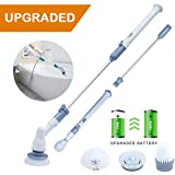 YOUKADA Upgraded Spin Scrubber | 3 in 1 Electric Cleaning Brush | 360 Cordless Replaceable Brush | Multi-Purpose Power Surface Scrubber for Bathroom Wall and Floor, Gray