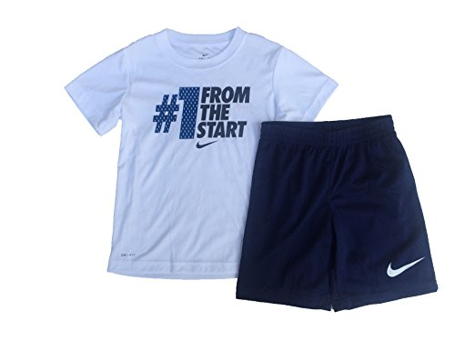 Nike Kids Outfit - NIKE Baby Boys' 2 Piece - #1 From The Start Short Sleeve Shirt & Shorts Set (6, Binary Blue)