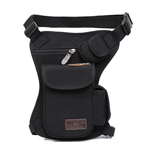 Tactical Hip Bag by Gorilla Gear - Men's Multipurpose Drop Leg Fanny Pack - Motorcycle Pouch - Sturdy Design - Multiple Practical Pockets - Adjustable Waist and Leg Strap - Black