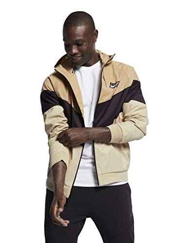 NIKE Mens HD GX Windrunner Hooded Track Jacket (Desert/Burgundy Ash/Desert Ore, Large)