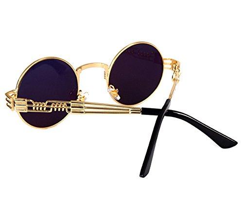 de Oro marco redondo gafas metal Gafas hippy Steampunk sol de conducción de Oro retro wgAqHvO