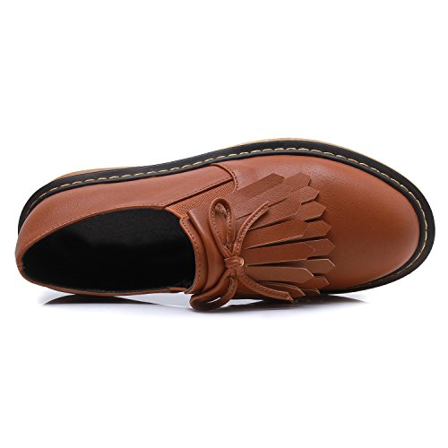 Smilun Girl¡¯s Derby Classic Lace-up Shoes Smooth Leather Flats Smooth Leather Office Business Dress Shoes for Girl Brown Size 6 B(M) US by Smilun (Image #3)