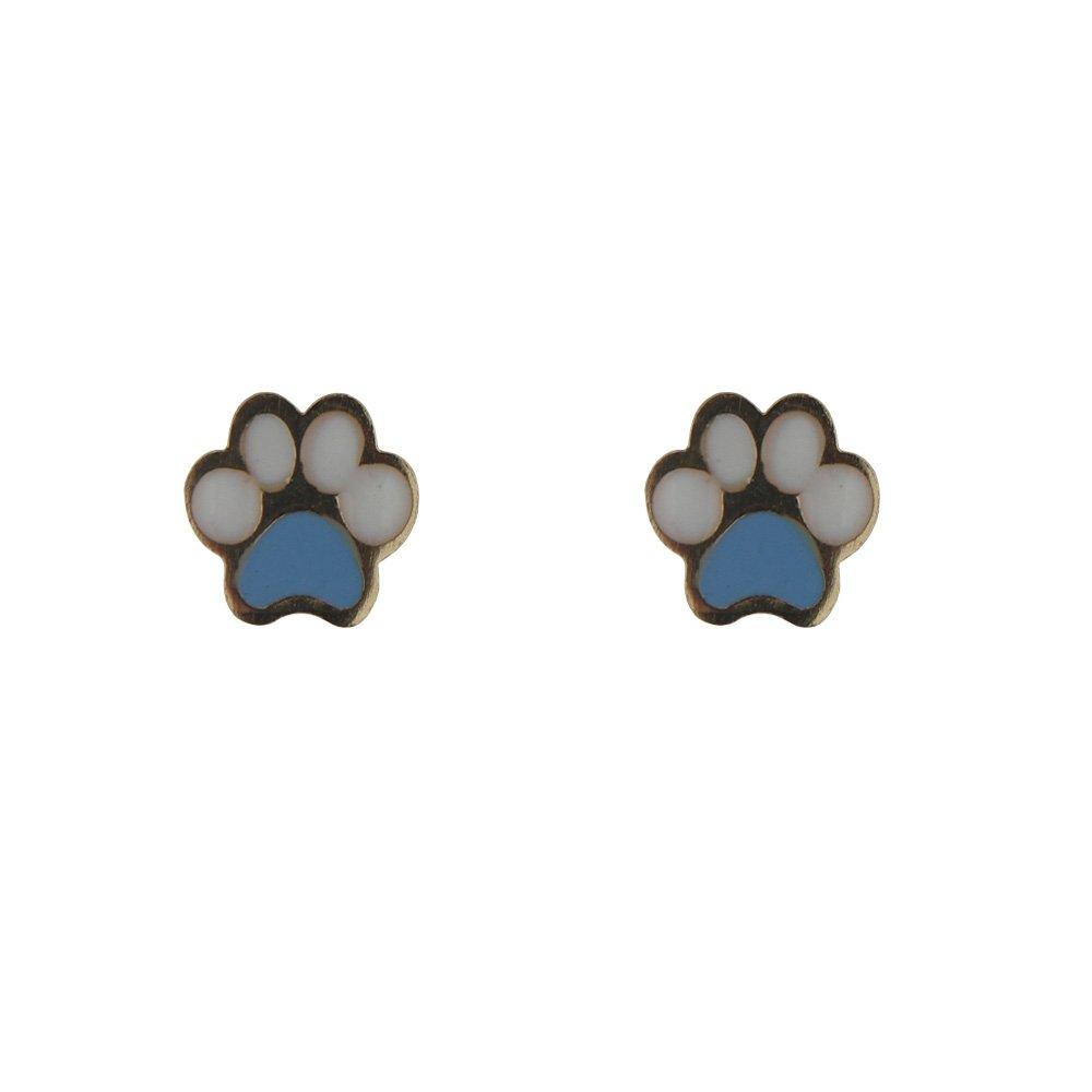 18KT Yellow Gold Blue Enamel PAW Post Earring 6.5mm