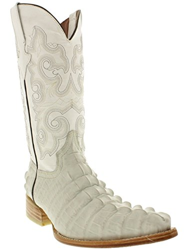 Team West - Men's White Crocodile Tail Print Leather Cowboy Boots 3X Toe 9.5 D(M) US (White Alligator Boots)