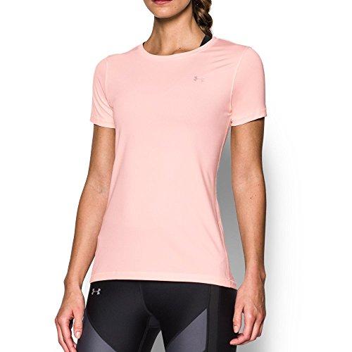 Under Armour Women's HeatGear Armour Short Sleeve, Ballet Pink (981)/Metallic Silver, Medium