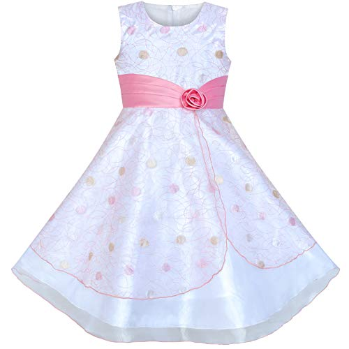 - Sunny Fashion Flower Girls Dress Dot Tulle Pink Wedding Party Bridesmaid Size 7-8
