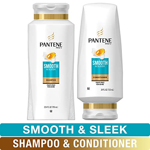 Pantene, Shampoo and Sulfate Free Conditioner Kit, with Argan Oil, Pro-V Smooth and Sleek for Dry Hair, 25.4 oz and 24 oz, Kit (Best Shampoo For Coarse Wavy Hair)
