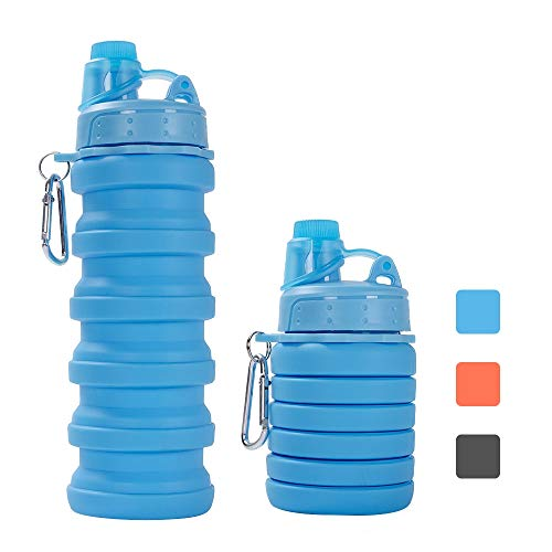ZOORON Collapsible Water Bottle, BPA Free Silicone Foldable Travel Water Bottle Set Lightweight/Eco-Friendly Water Bottles with Carabiner Designed for Travel and Outdoor (b-Bottle a-Blue)