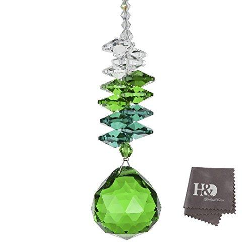 H&D 30mm Green Chandelier Crystals Ball Prisms Rainbow Octogon Chakra Suncatcherfor Gift