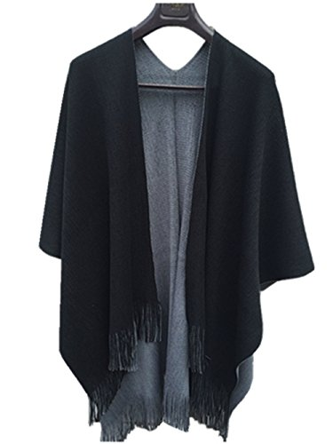 Menglihua Winter Warm Cashmere Kintted Poncho Capes Shawl Cardigans Sweater Coat Charm 6 One Size