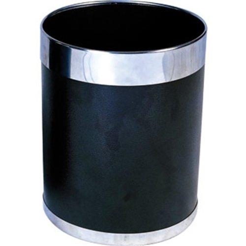 Bolero Y805/Corbeille /à papier avec bord argent/é 10.2/l Noir