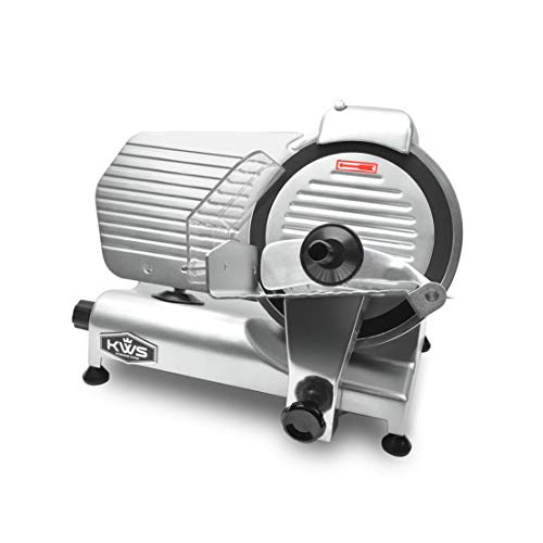 KWS MS-10NT Premium Commercial 320W Electric Meat Slicer 10-Inch with Non-sticky Teflon Blade, Frozen Meat/Deli Meat/Cheese/Food Slicer Low Noise Commercial and Home Use