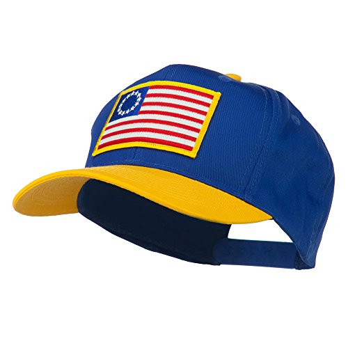 [Betsy Ross Flag Patched Cotton Twill Pro Style Cap - Gold Royal OSFM] (Betsy Ross Hat)