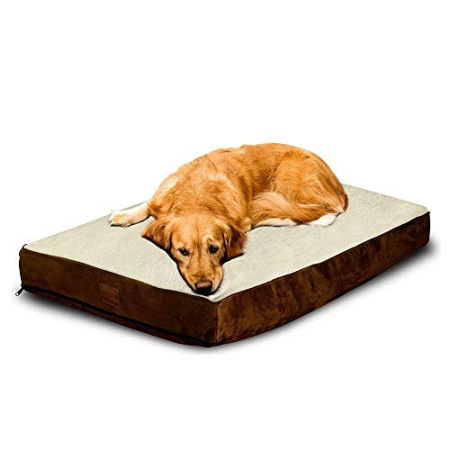 Floppy Dawg Large Dog Bed with Removable Cover and Waterproof Liner. Made for Big Dogs up to 90 pounds. Large Size 40 x 30 and Stuffed up to 6 Inches High with Blended Memory Foam Pieces. ()