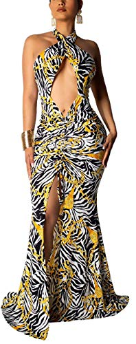- Women's Sexy Halter Dress Maxi Bodycon Sleeveless Backless Bandage Zebra Stripes Long Cocktail Party Gown Elegant Split Stretchy Evening Outfits