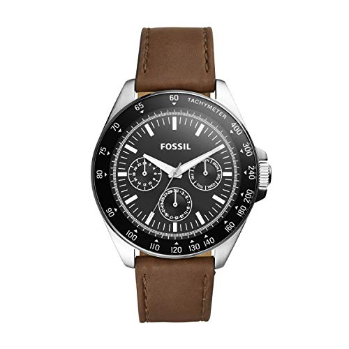 Fossil Men's Neale Quartz Stainless Steel and Leather Chronograph Watch, Color: Silver, Brown (Model: BQ2294)
