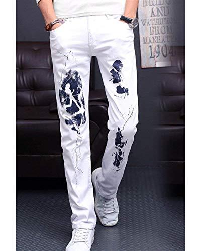 De Con Cómodo Vintage Recta Hombres Blanco Pantalones Para Mezclilla Estampado Pierna Ufig Battercake nt5HFPFc