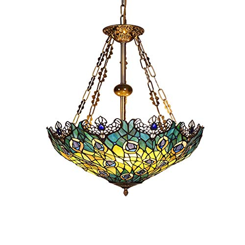 Tiffany Single Head Chandelier, Stained Glass Peacock Pattern Handmade Lampshade Openwork Lace 20 Inch 3-Light Multipurpose Ceiling Decorative Lighting Chandelier (Peacock Tiffany Hanging)