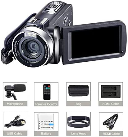 """4K Camcorder Vlogging Camera for YouTube Ultra HD 4K 48MP Video Camera with Microphone & Remote Control WiFi Digital Camera 3.0"""" IPS Touch Screen"""