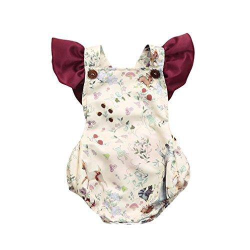 Hatoys Splice Playsuit,Toddler Infant Baby Girls Cartoon Print Backless Jumpsuit Romper (6M, Beige)