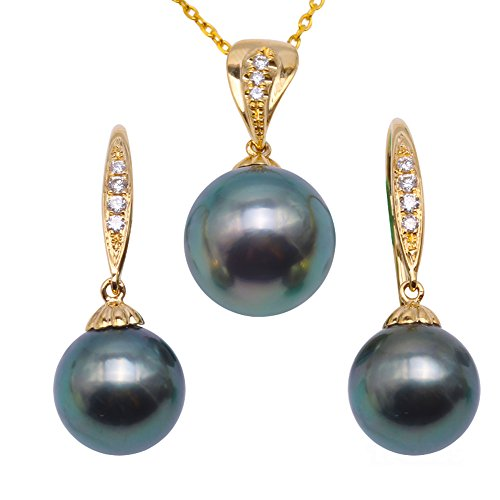 (JYX Pearl 18K Yellow Gold 9-10.5mm Round Peacock-green Tahitian Cultured Pearl Pendant Necklace and Earrings Jewelry Set Dotted with Diamonds)