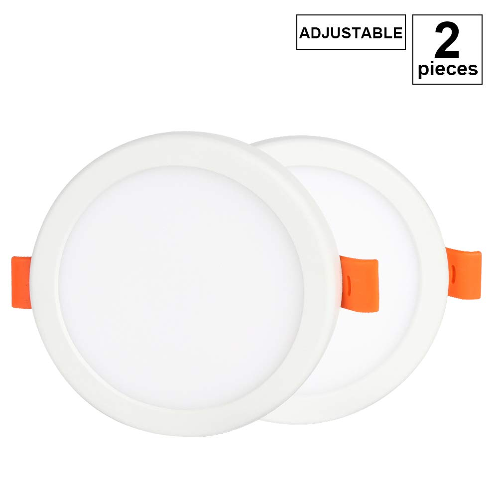 4 Inch LED Downlight, 6W Adjustable Cut Hole Diameter 2''-3'', Round Ultra-Thin Retrofit LED Recessed Fixture, 3000K(Warm White) Slim LED Ceiling Lights Flat LED Panel Light Lamp with LED Driver,2 Pack