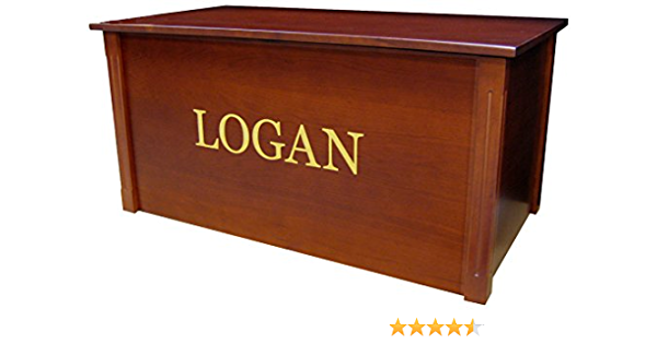 Cedar Base - Silver Lettering Personalized Edwardian Font Custom Options Wood Toy Box Large Espresso Toy Chest