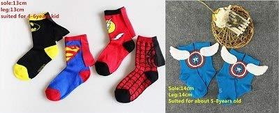 Grocoto Boys Costume Accessories - 5Pairs/Lot Kids Superman Batman Spiderman The Flash Captain America Costume Socks Boys Girls Cotton Socks with Capes 1 PCs ()