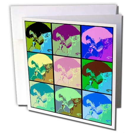 3dRose Lens Art by Florene - Elvis - Image of Collage of Nine Faces of Elvis in Cartoon Colors - 12 Greeting Cards with envelopes -