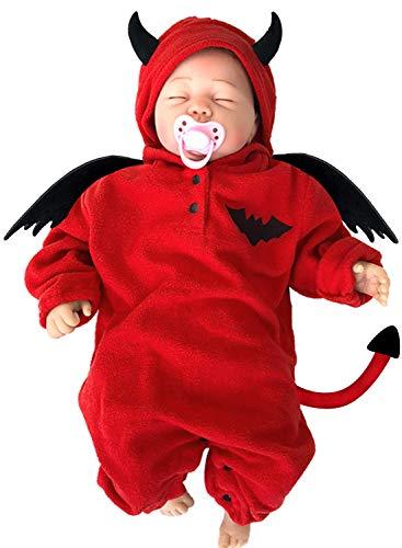 Infant Devil Costume (LANCYBABY Toddler Halloween Pumpkin Costume Hooded Romper Fancy Outfits for Baby Boys Girls, Little Bat, 6-12)