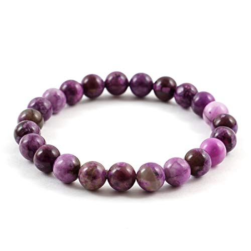 (Purple Sugilite Gemstone Bracelet 7 inch Stretchy Chakra Gems Stones Healing Crystal Great Gifts (Unisex) GB8-48)