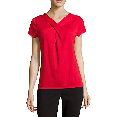 Liz Claiborne Criss Cross Twist Extended-Shoulder Top Size PS