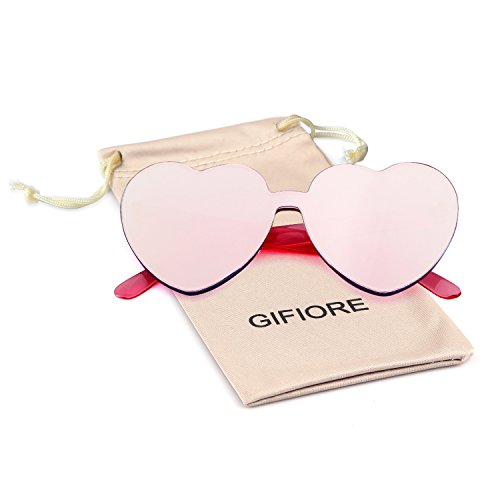 Heart Shape Rimless Sunglasses One Piece Transparent Candy Color Eyewear (Barbie Pink, 64)