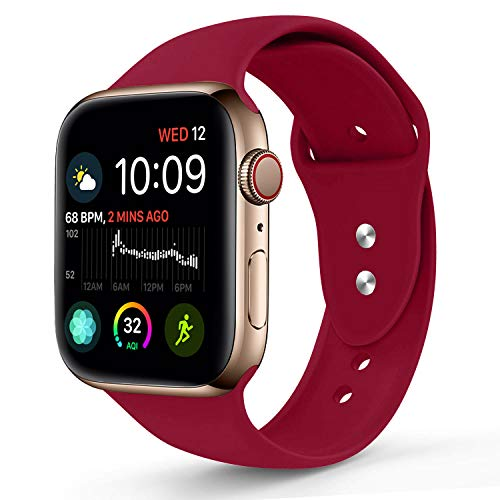 Sworddy Sport Band Compatible with Apple Watch 38MM 40MM,Soft Silicone Replacement Strap Compatible for Apple Watch Series 4/3/2/1 [S/M Size in Rose Red Color]