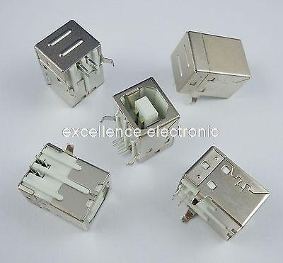 KeoKasu 100Pcs b type usb jack connector printer port Female Socket Right Angle PCB Connector DB90