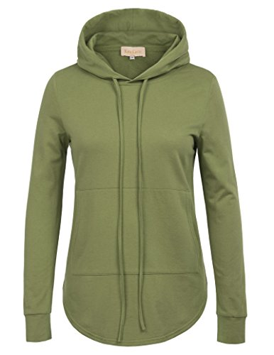 Basic Solid Lightweight Sport Hoodie for Women (L,Olive Drab)