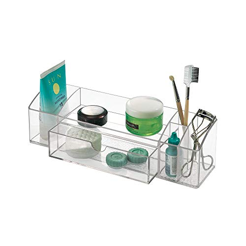 InterDesign Med+ Bathroom Medicine Cabinet Organizer for Makeup, Contact Lenses, Solution, Cotton Balls - Clear