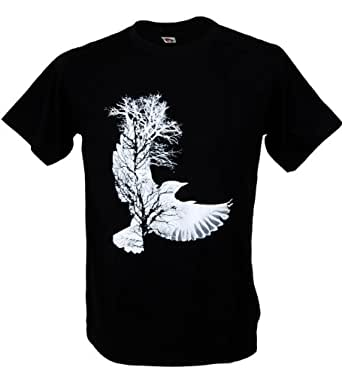 Bird Tree Design Graffiti Art Graphic T-shirt (Small, Black)
