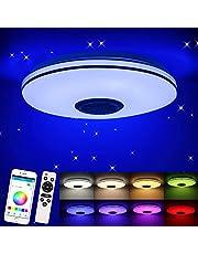 Porcyco Lampa sufitowa LED 36 W, z głośnikiem Bluetooth, pilotem zdalnego sterowania lub aplikacją do sterowania, opcja zmiany kolorów, 3220-2100 lm, przyciemniane lampy sufitowe do salonu, pokoju dziecięcego, sypialni