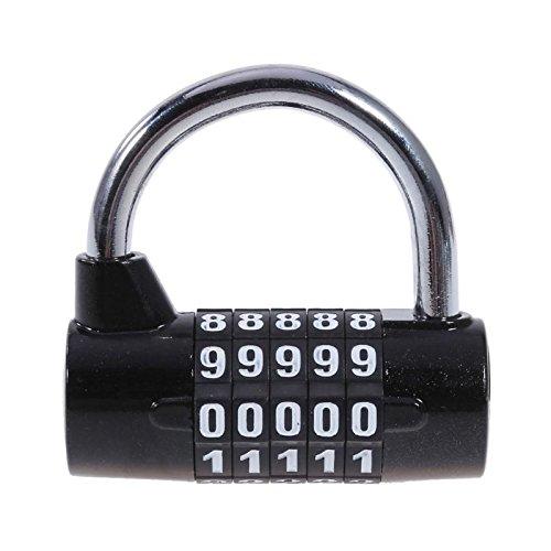 5桁のパスワード自転車ロック亜鉛合金安定ドアウィンドウジムロック盗難防止自転車アラームfor MTBマウンテンロードバイク、ブラック   B07FRHTCQW