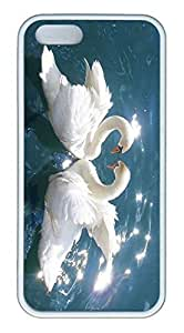 iPhone ipod touch4 Case, Unique Protective Design Soft TPU White Edge Love Swans Case Cover for iPhone ipod touch4