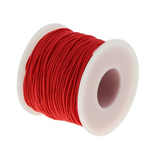 Homyl 1 Row Elastic Stretchy Beading Thread Cord String For Jewellery Making - Red 0.8mm